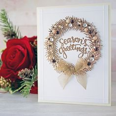 Pearls and Rose Gold Holiday Wreath Card • Cardstoq