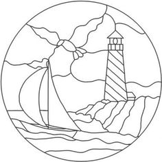 Free stained glass patterns/Terris Lighthouse - A4 Etc. Free Stained Glass Pattern Resizer