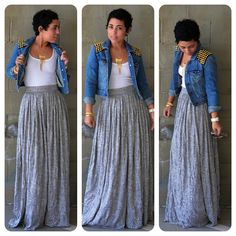 OOTD: DIY Maxi Skirt + Denim DIY Studded Jacket  & she's so cute with her short hair!