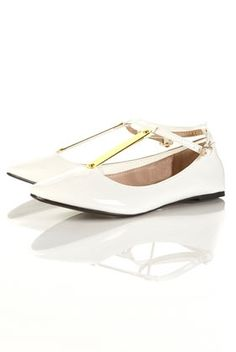 VEIL White Patent Metal T-Bar Ballet Pumps - Flats - Shoes - Topshop USA - StyleSays