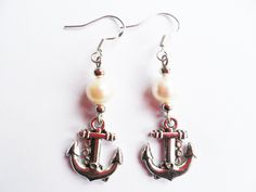 Silver anchor earrings with freshwater pearls, nautical jewelry, delicate and feminine, Selma Dreams by SelmaDreams on Etsy