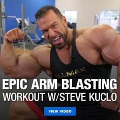 [Video] Epic Arm Blasting Workout w/ Steve Kuclo Team ALLMAX athlete Steve Kuclo destroys his arms with this high volume arm workout just 4 weeks out from the 2019 Arnold Classic. Bicep And Tricep Workout, Biceps And Triceps, Close Grip Bench Press, Best Biceps, Tricep Pushdown, Bicep Muscle, Mass Gainer, Arnold Classic, Arm Day