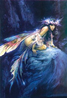 Fairy crouched on a head, by Brian Froud