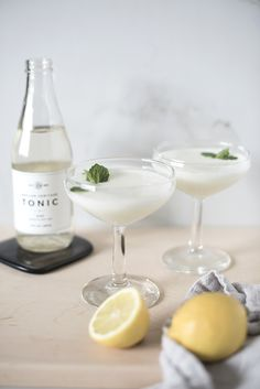 Lemon Mint Coupe (A Yogurt Cocktail) - Room for Tuesday Easy Cocktails, Cocktail Drinks, Cocktail Recipes, White Cocktails, Cocktail Club, Summer Cocktails, Spicy Candy, Lemon Yogurt, Gin Lemon