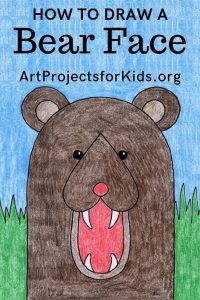 Learn how to draw a Bear Face with this fun and easy art project for kids. Simple step by step tutorial available. Easy Tiger Drawing, Bear Face Drawing, Easy Art Projects, Drawing Projects, Drawing Lessons, Art Lessons, Art Drawings For Kids, Drawing For Kids, Easy Drawings