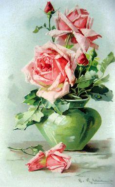 Pink roses in green vase, Catherine Klein Art Floral, Floral Prints, Vintage Rosen, Vintage Diy, Watercolor Flowers, Watercolor Art, Vase Vert, Catherine Klein, Illustration Blume