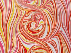 Hand-Marbled Paper  Reds yellows and white: by LosingHerMarbles