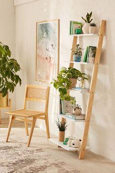 Leaning bookshelf in 2019 Scandinavian Bookshelves, Leaning Bookshelf, Leaning Shelf, Simple Bookshelf, Ladder Bookshelf, Bookcase, Living Room Decor, Bedroom Decor, Bedroom Wall