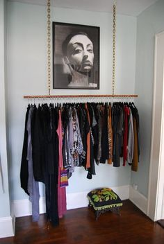 "No closet? No problem. You know how Edward Sharpe says ""Home is wherever I'm with you""? Here's your new motto: My closet is wherever I keep my clothes. Let's just grab a sturdy garment rack (or make one from scratch) and set up shop in the living room or bedroom. It can look great, with the right inspiration."