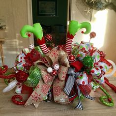 Browse unique items from WreathsEtc on Etsy, a global marketplace of handmade, vintage and creative goods. Elf Centerpieces, Elf Decorations, Christmas Centerpieces, Christmas Decorations, Holiday Decor, Christmas Tree Wreath, Christmas Elf, Christmas Crafts, Christmas Stuff