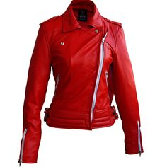 Leather Skin Shop is the only online store that offers Real Genuine Leather Jackets for Women of all ages. Pick your favorite color be it, Red, Yellow, White or other and on your style game! Leather Skin, Red Leather, Biker Leather, Leather Fashion, Plus Size Leather Jacket, Leather Jackets, Leather Coats, Lady In Red, Mantel