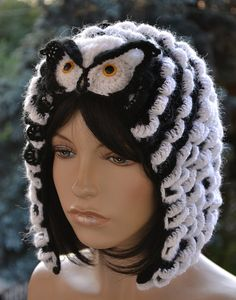 Crocheted  cap  Owl o Colour whiteblack     by DosiakStyle on Etsy