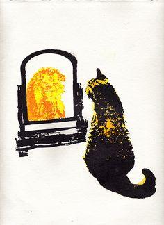 Think Big! Cat lion screen printed illustratio