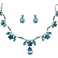 Blue Crystal Drop Prom Bridesmaid Wedding Bridal Fashion Jewellry Jewelry Set SKU-10801084