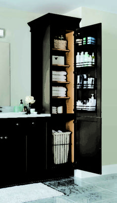 Bathroom Cabinet Ideas for A Minimalist Bathroom. vertical cabinet built in bathroom storage ideas Built In Bathroom Storage, Built In Storage, Bathroom Organization, Storage Shelves, Storage Ideas, Storage Organization, Shelf, Storage Mirror, Bathroom Shelves