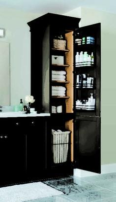 Bathroom Cabinet Ideas for A Minimalist Bathroom. vertical cabinet built in bathroom storage ideas Built In Bathroom Storage, Built In Storage, Bathroom Shelves, Bathroom Organization, Small Bathroom, Storage Organization, Bathroom Ideas, Bathroom Vanities, Master Bathroom