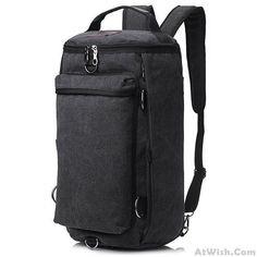 Retro Multifunction Gym Shoulder Bag Canvas Camping Backpack Men Large Bucket Travel Outdoor Rucksack #campingbackpack