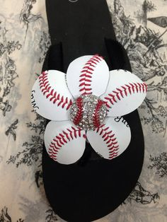 Baseball flip flops by redbranchcreations on Etsy, $29.00