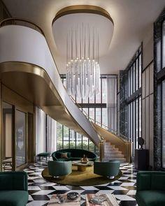 Design Trends Popping Up In The Market Today - Luxe Interiors Design Lobby Design, Design Hotel, House Design, Restaurant Design, Luxury Interior Design, Contemporary Interior, Interior Architecture, Modern Staircase, Staircase Design