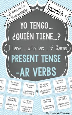 Interactive, whole class game to practice Spanish AR verb conjugations and meanings. - ✿ More inspiration at http://espanolautomatico.com ✿ Spanish Learning/ Teaching Spanish / Spanish Language / Spanish vocabulary / Spoken Spanish / Free Spanish Podcast / Español Automatico ✿ Share it with people who are serious about learning Spanish!