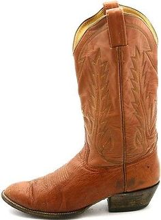 144d83261db Laramie Mens Cowboy Boots size 8.5 D Vintage Smooth Ostrich Orange Leather  Western Boots