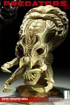 Super Predator Skull Prop Replica from Predators. Alien Vs Predator, Wolf Predator, Predator Art, Alien Races, Alien Creatures, Alien Art, Maquillage Halloween, Creature Concept, Movie Props