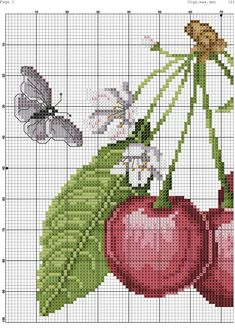 This Pin was discovered by mun 123 Cross Stitch, Cross Stitch Fruit, Cross Stitch Kitchen, Modern Cross Stitch, Cross Stitch Designs, Cross Stitch Patterns, Rosa Shabby Chic, Cross Stitching, Decoupage