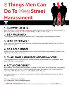 6 things men can do to stop street harassment