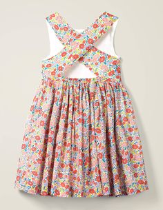 Cross Back Dress - Multi Pink Flowerbed Vintage Girls Dresses, Baby Girl Dresses, Beach Dresses, Summer Dresses, Little Girl Outfits, Kids Outfits, Mini Frock, Heirloom Sewing, Toddler Fashion