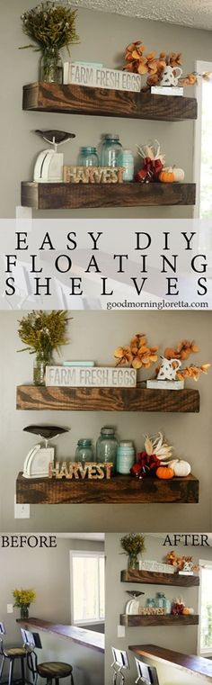 Shelves D. Floating Shelves- this is the easiest tutorial I've seen and they look just like the ones from HGTV's Fixer Upper! Floating Shelves- this is the easiest tutorial I've seen and they look just like the ones from HGTV's Fixer Upper! Kitchen Wall Shelves, Book Shelves, Diy Home Decor, Room Decor, Floating Shelves Diy, Floating Lights, Rustic Shelves, Diy Décoration, Diy Crafts