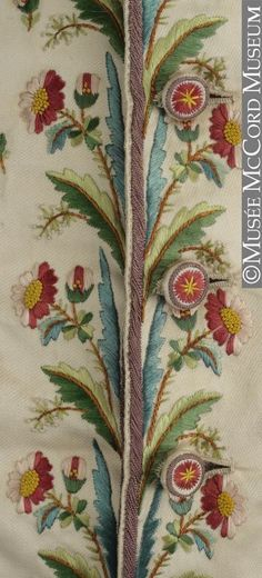 Detail front, waistcoat, 1790-1799. Cream silk twill embroidered with floral sprays and floral motifs in multicoloured silks.