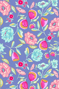 Indy Bloom Tulla Summer by indybloomdesign - Hand painted flowers in bright neons on fabric, wallpaper, and gift wrap. Beautiful bright neon floral pattern by indie designer indybloomdesign. Bright Wallpaper, Flower Wallpaper, Pattern Wallpaper, Wallpaper Backgrounds, Iphone Wallpaper, Fabric Wallpaper, Bloom, Textures Patterns, Color Patterns