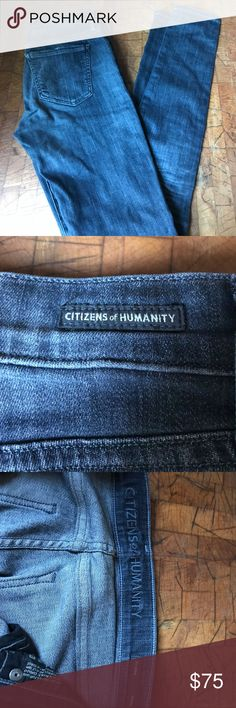Citizen of Humanity skinny jeans Dark denim. Looks bluer in picture, but more like a charcoal with blue tint. Great condition. Citizens of Humanity Jeans