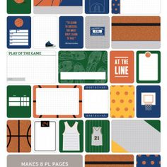 Basketball Themed Cards - Project Life www.BeckyHiggins.com/shop