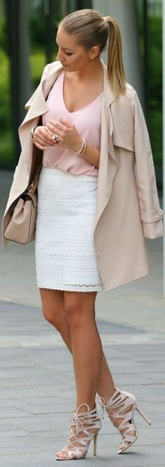 White lace Skirt | Fashion Look by Style and Blog.