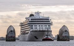 Breathe in! Viking Star squeezes through the Thames Barrier on her way to Greenwich Pier.