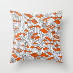 City Grid Day Print Throw Pillow $20