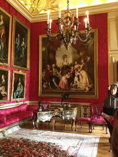 The Red Drawing Room at Blenheim Palace. Woodstock, Oxfordshire, England, UK
