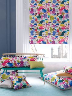 Inspired by the rainbow of terraced houses that line the waters edge on the Isle of Skye, the Portree fabric features abstract, multicoloured, painterly brushstrokes in Fi's signature watercolour palette. The Portree Collection is created exclusivel Fabric Design, Pattern Design, Green Lounge, Bluebellgray, Watercolor Fabric, Minimalist Bathroom, Plant Decor, Floral Fabric, Living Room Decor