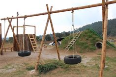 Tire swings & the slide #playground #ProjectSomos www.projectsomos.org
