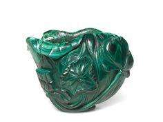 A malachite 'lotus' waterpot, Qing dynasty, 18th century