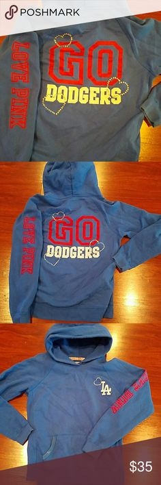 Victoria Secret Go Dodgers hoodie size medium Amazing sweatshirt hoodie I don't have the hood string to it but doesn't affect the sweatshirt and also you can see there is it a little bleach. On the pocket not very noticeable but is there Victoria's Secret Tops Sweatshirts & Hoodies