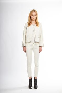 Nili Lotan | Resort 2015 | 06 White leather jacket, tank top and cropped jeans