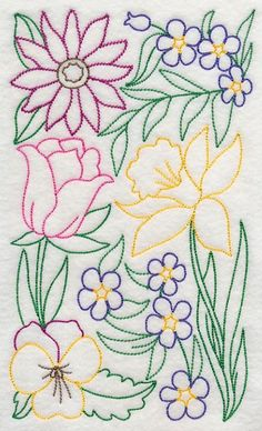 puntadas para bordar flores modelo