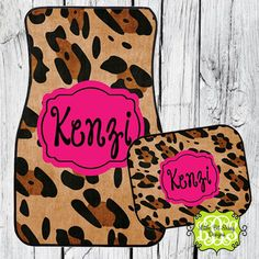Car Mats Animal Print Leopard Personalized Monogrammed Floor Car Mat Initial Pink on Etsy, $32.00