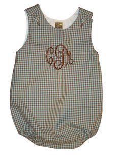 Monogrammed Baby Boy Bubble Suit