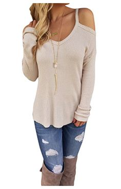 88c5bcf2e3e6b Leindr Women s Casual Long Sleeve Cold Shoulder High-low Knit Pullover  Sweaters  12.99 Jumper
