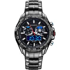 Cheap watch unisex, Buy Quality watch video directly from China watch the note book Suppliers: BOAMIGO luxury men sport watches casual brand military dual display LED digital watches hot quartz waterproof steel wristwatches Necklace Types, Men Necklace, Mens Sport Watches, Watches For Men, Top Luxury Brands, Dragon Pendant, Bracelet Clasps, Military Fashion, Business Fashion