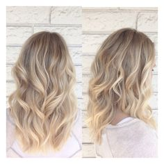 Natural beachy baliaged / ombré highlights with flat iron curls. Color cut and style by Katie Ruiz of Jackson W Salon in Naples, ca