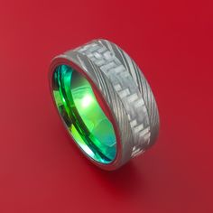 Damascus Steel and Carbon Fiber Ring Custom Made Band with Anodized Green Interior - Stonebrook Jewelry